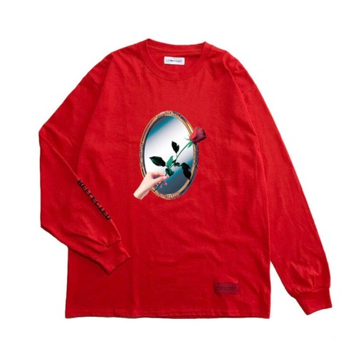 LILWHITEDOT - REFLECTED L/S TEE (RED) -