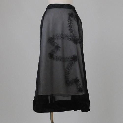 gouk 松葉重ね大桜プリント入り透けスカート GGD25-S705 BK/M