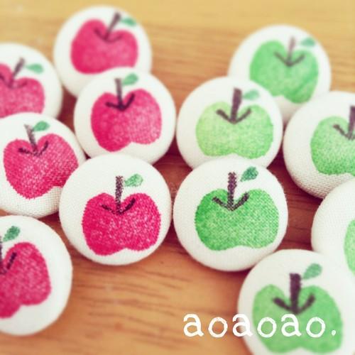 くるみボタン/はんこ リンゴ 16mm