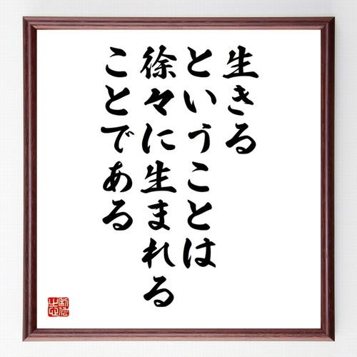 サン・テグジュペリの名言書道色紙『生きる、ということは徐々に生まれることである』額付き/受注後直筆(千言堂)Z1474