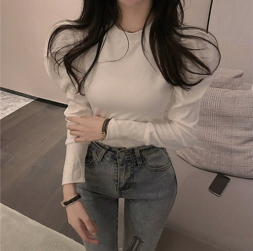 simple puff sleeve T 3color