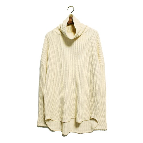 Enharmonic TAVERN Big Waffle Volume Neck Tops -white <LSD-AH3T5>