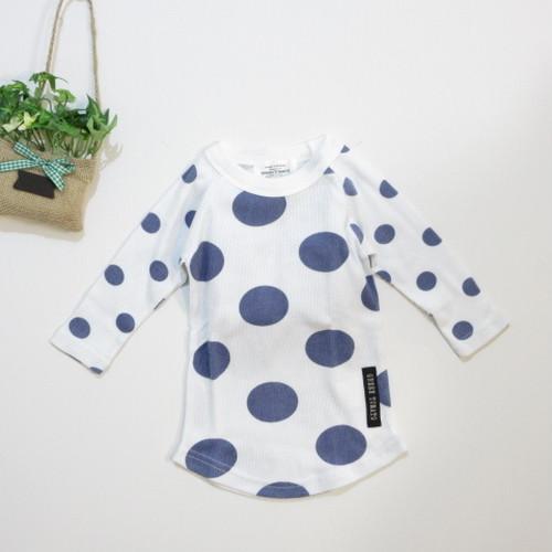 韓国子供服☆80~140㎝ 七分袖 ドットTシャツ(紺)