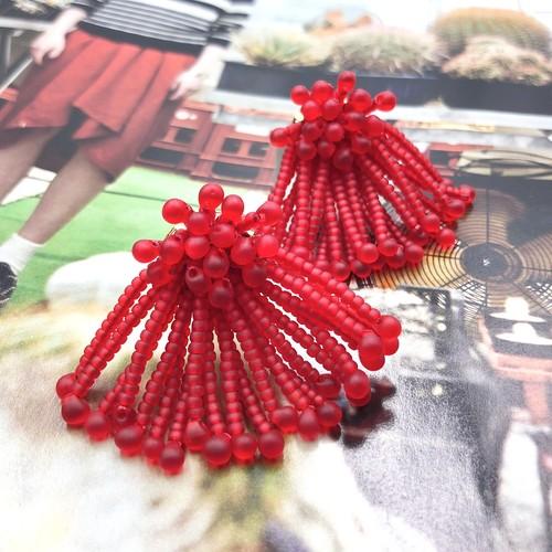 粒傘 mat red【イヤリング・ピアス】