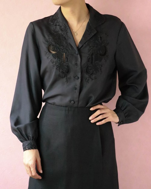 black silk embroidery shirt