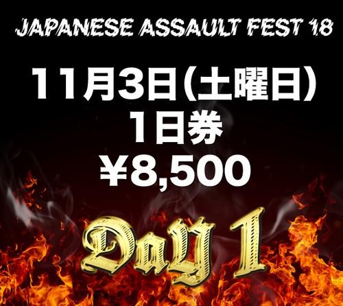 JAPANESE ASSAULT FEST 18 1日券(11/3土曜日)