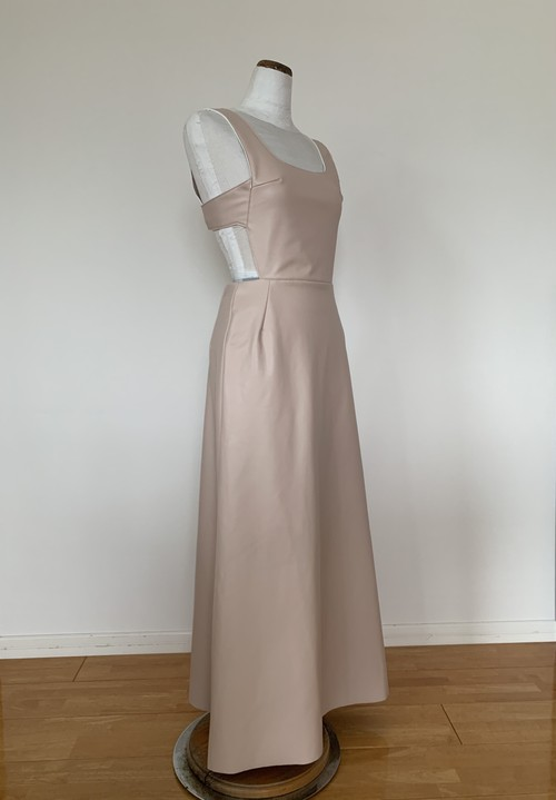 New!!! Back view dress : eco leather pink