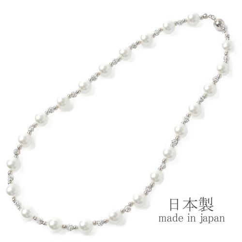 マグネット式・パールビジュ―ネックレス【日本製】