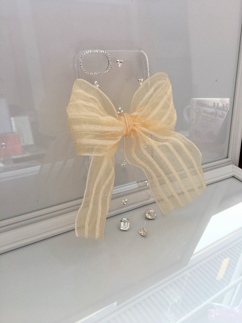 縁結び♡iPhone7ケース スワロフスキーとオーガンジーにモールのストライプリボン