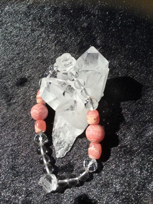 ハンドメイド/1点限り パワーストーンブレスレット インカローズ×水晶×薔薇水晶