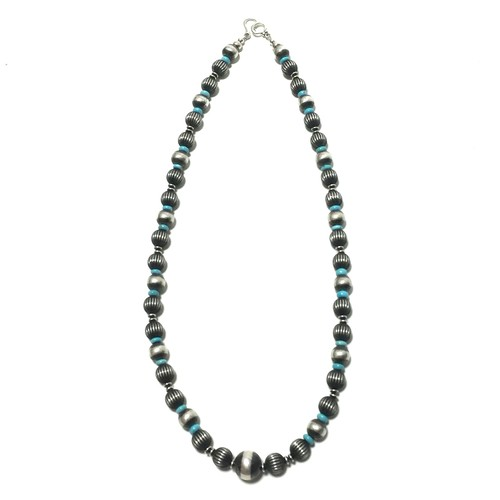 Navajo Sterling Silver Beads & Sleeping Beauty Turquoise Necklace by Marilyn Platero