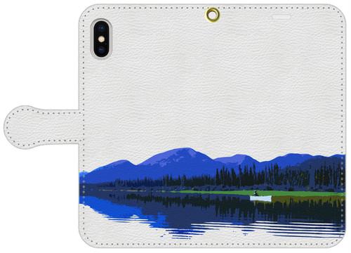 手帳型スマホケース・白レザー調 iPhone X/XS, 8, 7, 6/6s, 5/5s/SE, アンドロイド用S/Mサイズ カナダ・ユーコン川 B