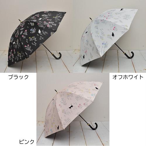 猫傘(晴雨兼用雨傘日傘)野の花と猫