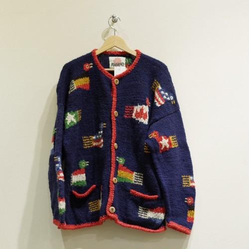 Flag bird Sweater / ローゲージ カーディガン