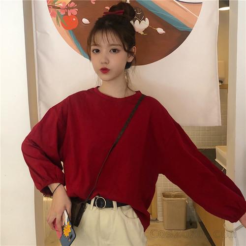 【トップス】長袖ファッションラウンドネックプルオーバーTシャツ25764363