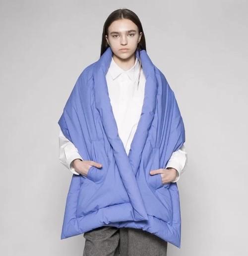 『VOAAOV』microfiber cloth down stole / BLUE