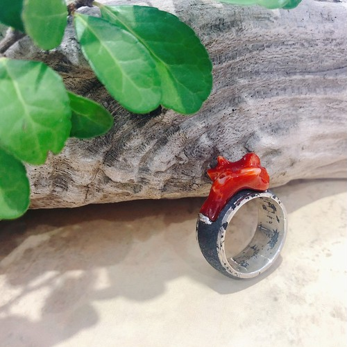 【atelier chinen chinen ×CORALIA】magma 枝大 赤サンゴ いぶし銀 SV