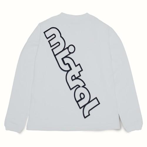 ミストラル ユニセックス [ コットン長袖Tシャツ -ビッグロゴ- ] WHITE