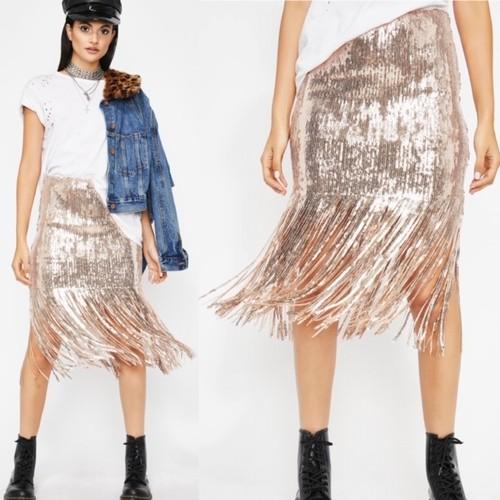 【Hot & Delicious】 スパンコールフリンジスカート