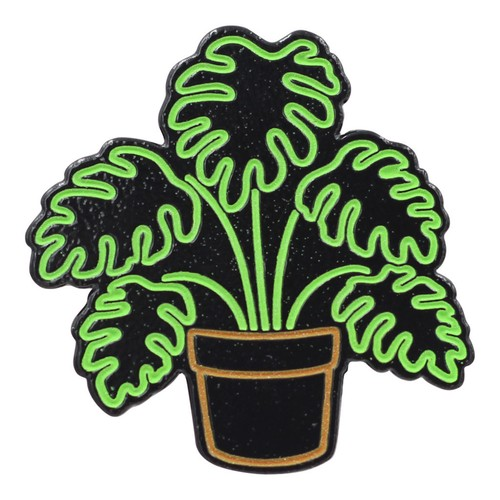 "Real Sic""Neon Monstera – Glow-in-the-Dark Plant Enamel Pin"""