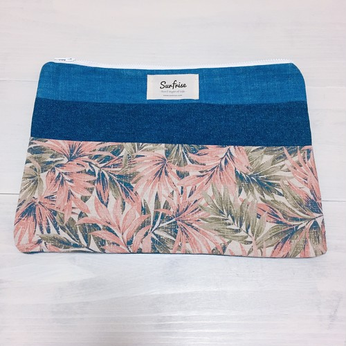 Denim clutch bag F81(Pink)