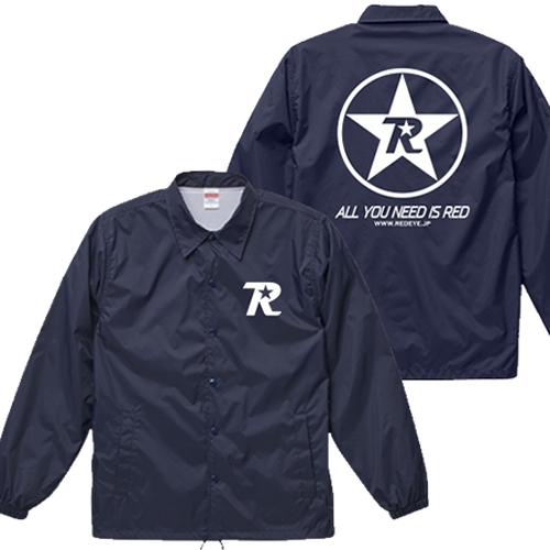 R-logo Breast(BKP:All You Need Is Red ver.) / ナイロンコーチジャケット(White/Navy)【送料無料】【Shop限定】