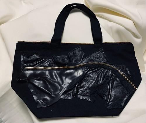 Black leather パッチワークトートバッグ
