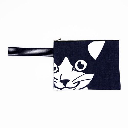 猫ポーチ(デカ顔インディゴ集金袋)ねこ顔