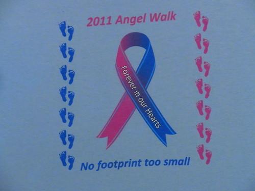 USA古着プリントTシャツM水色Angel Walk両面 綿100美品50