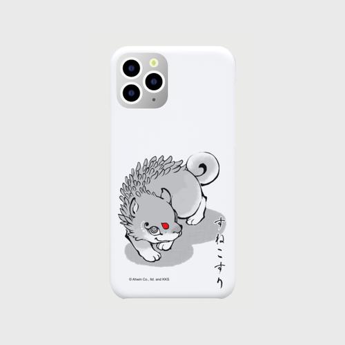 あやかし図録:すねこすり オリジナル スマホケース(iPhone11 Pro:ホワイト)