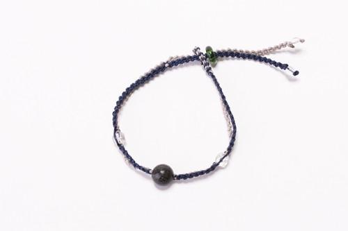 富士山溶岩ブレスレット[Lava Bracelet]〜 ライトグレー × 紺 〜