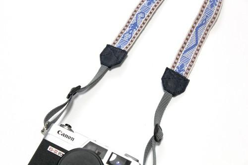 手織りベルト  カメラストラップ  light blue