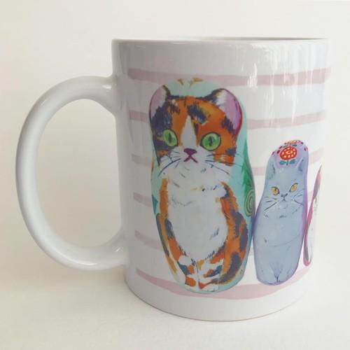 マグカップ  マトリョーシカ猫ちゃん