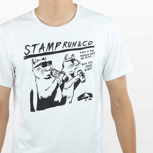 STAMP RUN & CO / STAMP GRAPHIC RUN TEE (TWO CATS)