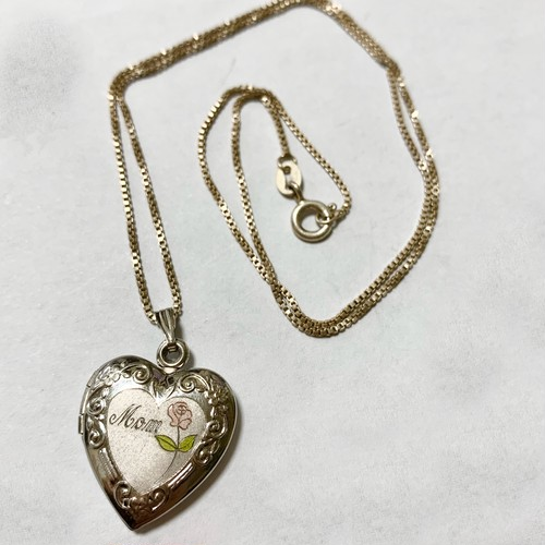 Vintage Heart Shaped For Mom Locket Pendant  Necklace