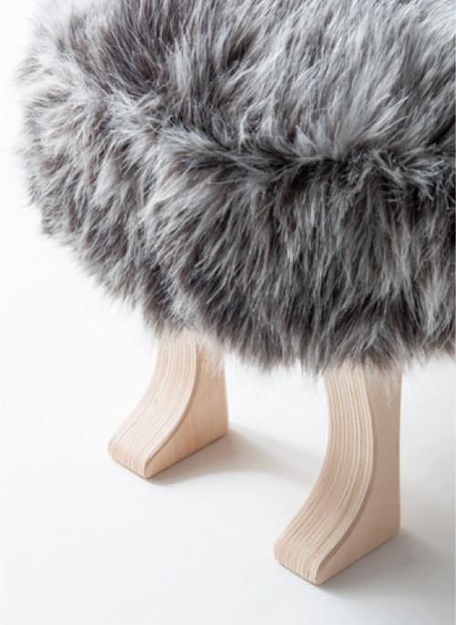 ANIMAL stool L(ウルフグレーミックス/コヨーテブラウン)