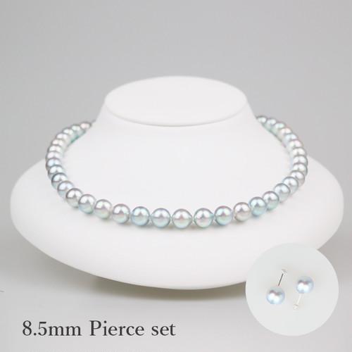銀錫85P-set(Ginsuzu)【Akoya8.0-8.5mm】Necklace & Pierce Set