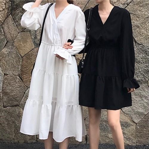 【ワンピース】VネックファッションAライン簡約・シンプルカジュアルワンピース