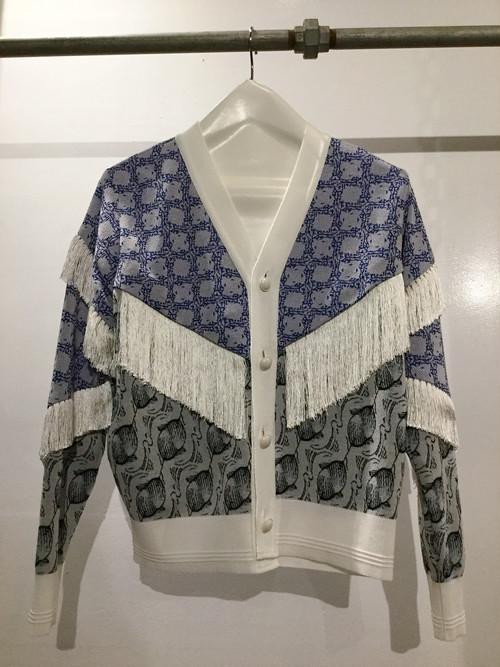 PONTI  washed  pattern fringe cardigan