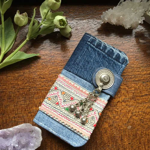 tribal embroidery × denim patchwork iPhone case