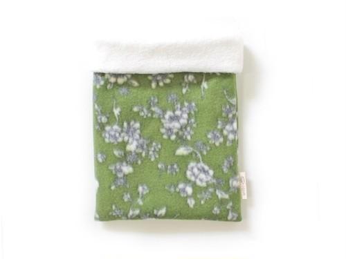 ハリネズミ用寝袋 M(冬用) フリース×フリース 芍薬 緑 / Regular Snuggle Sack for Hedgehog