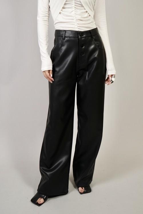 FAUX LEATHER BUTTON PANTS  (BLACK) 2102-94-676