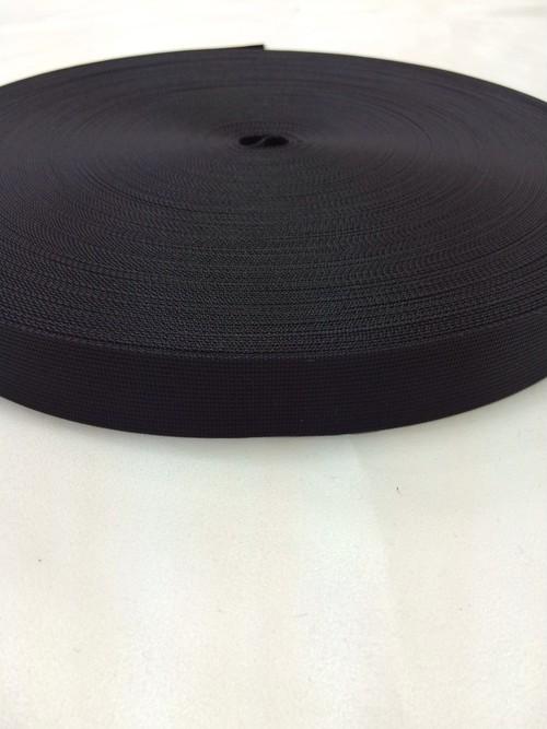 sale リュックのヒモやザックのヒモに最適な ナイロン ベルト 高密度 25mm幅 1mm厚 黒 50m巻1反