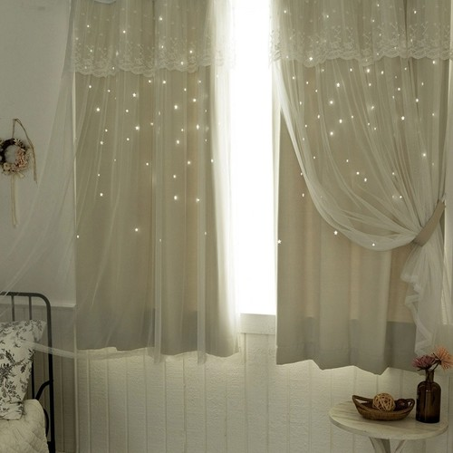 twinkle star & lace curtain set 3size 7colors / 韓国 星 カーテン