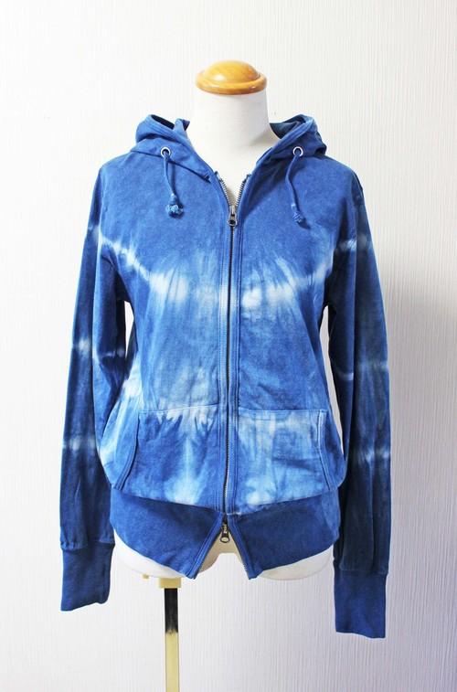 藍染めパーカー 長袖 薄手 ユニセックス M (UP-01)