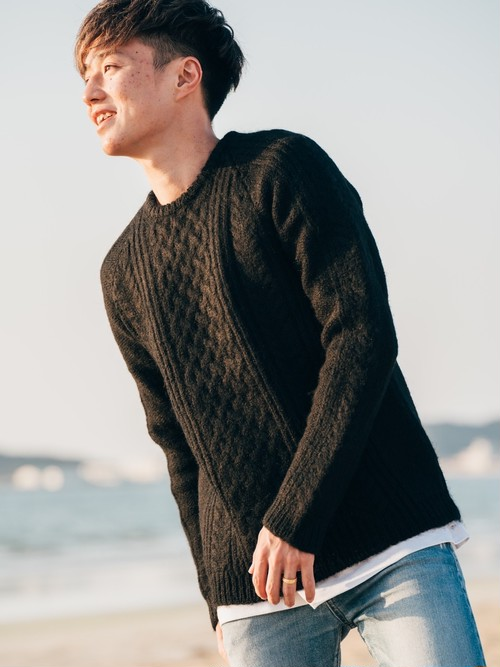 【11/25(wed) 21:00 販売開始】ThreeArrows Wool Knit (black)