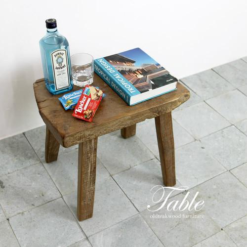自然の造形美。チーク材の厚いミニテーブル兼スツール A