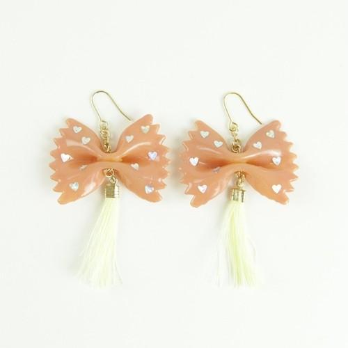 【ピアス/イヤリング】PinkBeige Ribbon ×  Tassel