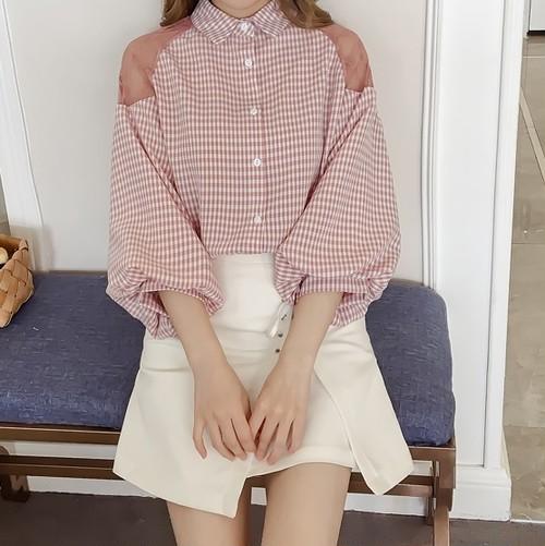 【お取り寄せ商品】girly mesh check shirt 6287