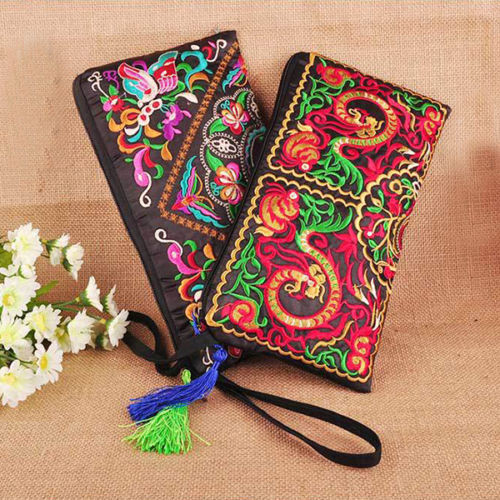 New Women Wallet Embroider Purse Clutch Mobile Phone Bag Coin  Bag